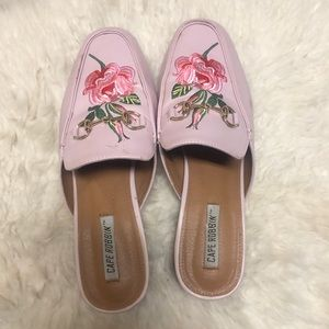Pink floral princetown slides mules loafers 9